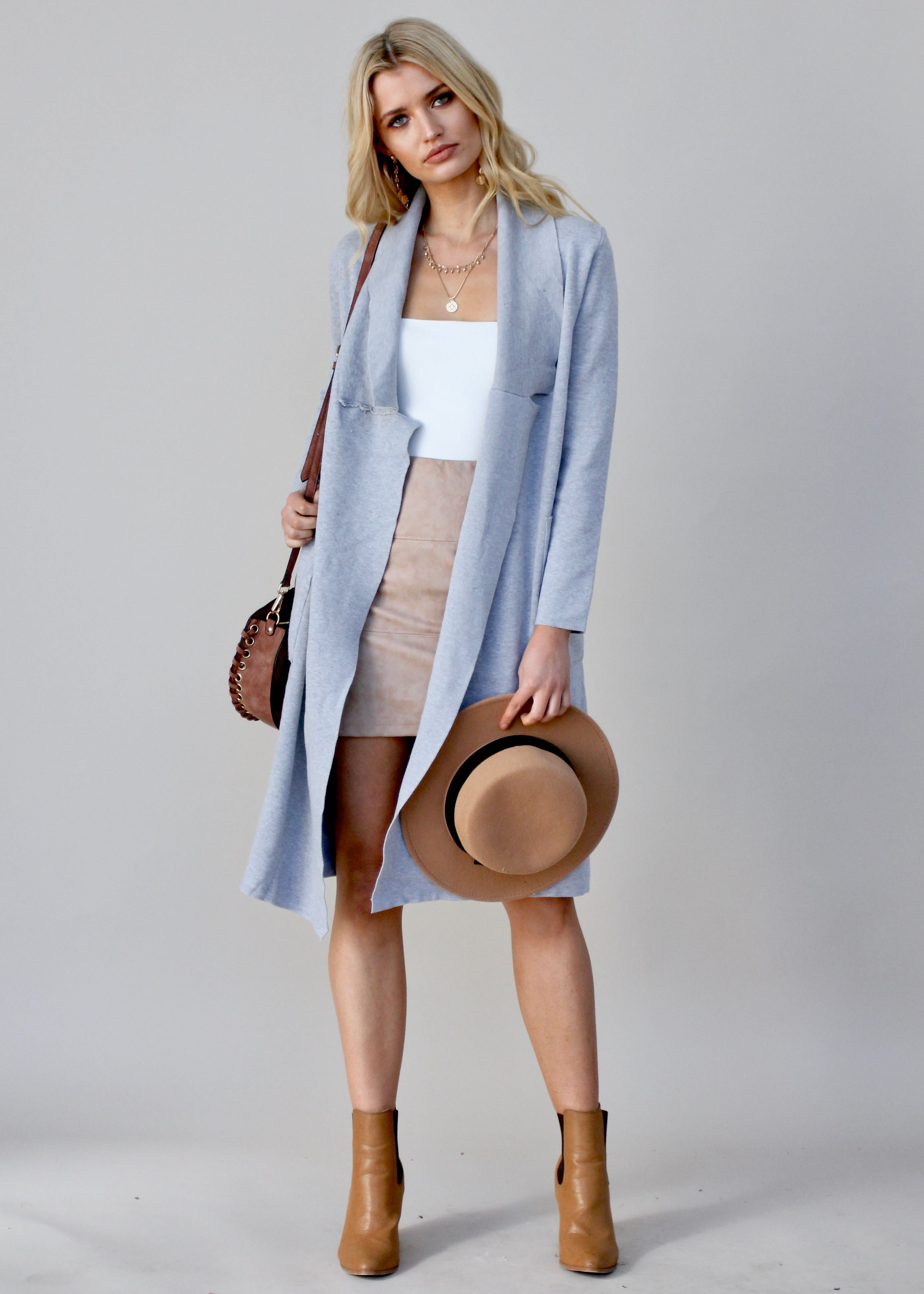 SJP Raw Knit Coat - Grey Marle