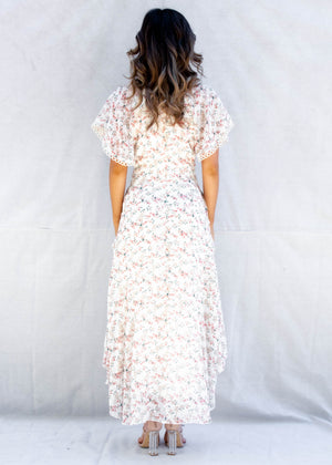 Be Free Hi-Lo Midi Dress - Peach Floral