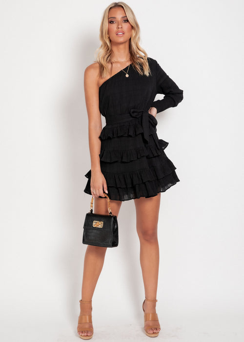 Poppy One Shoulder Dress - Black