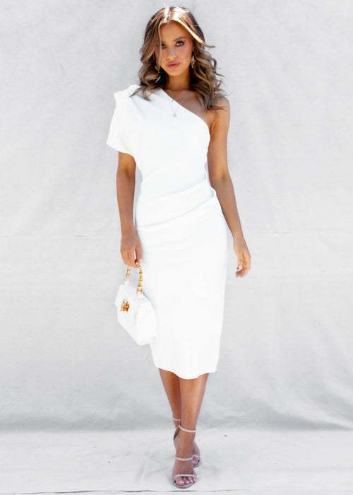 Over You One Shoulder Midi Dress - White