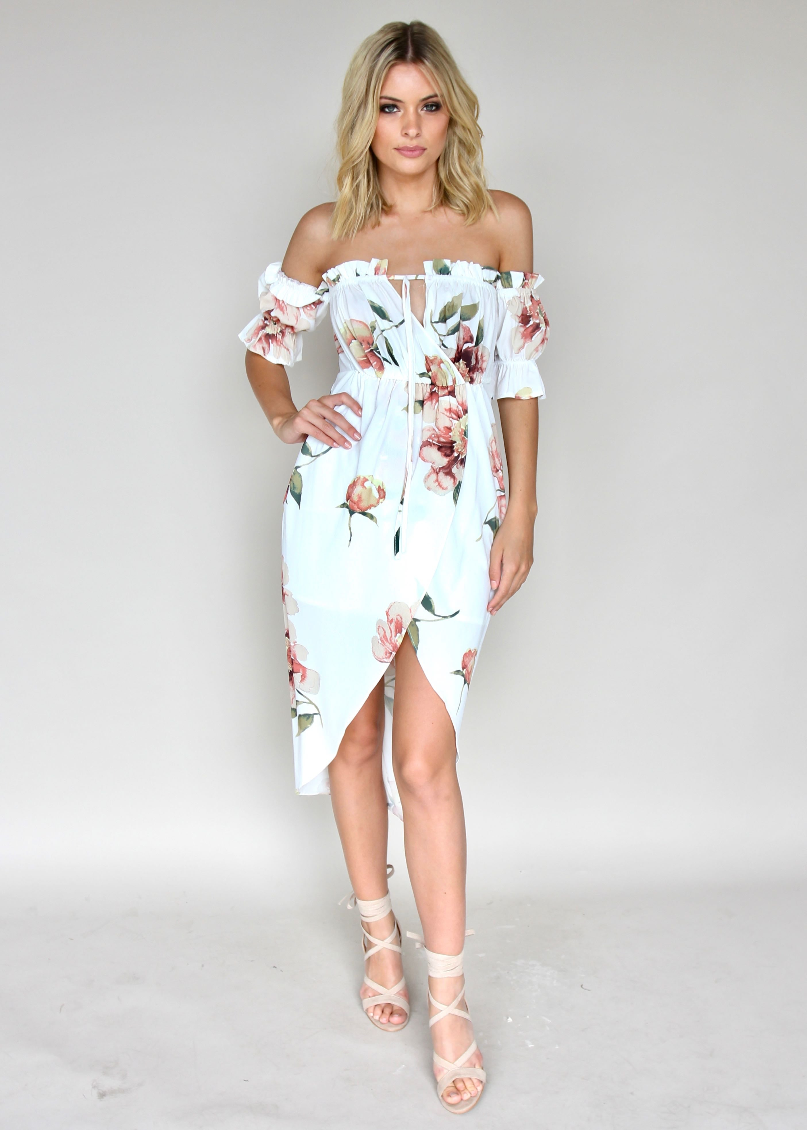 Kiss & Tell Midi Dress - White Floral