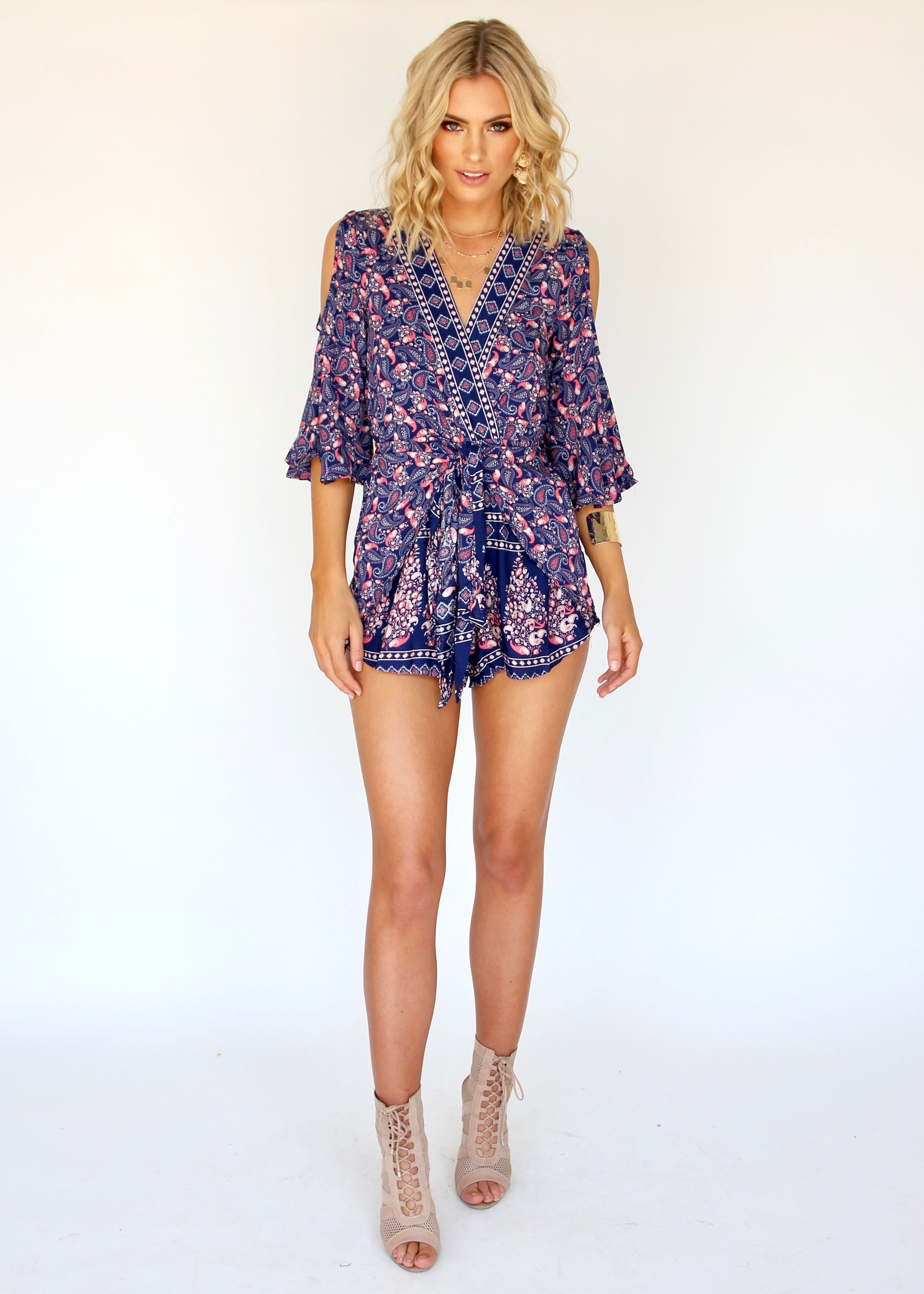 Hot Line Playsuit - Navy/Red