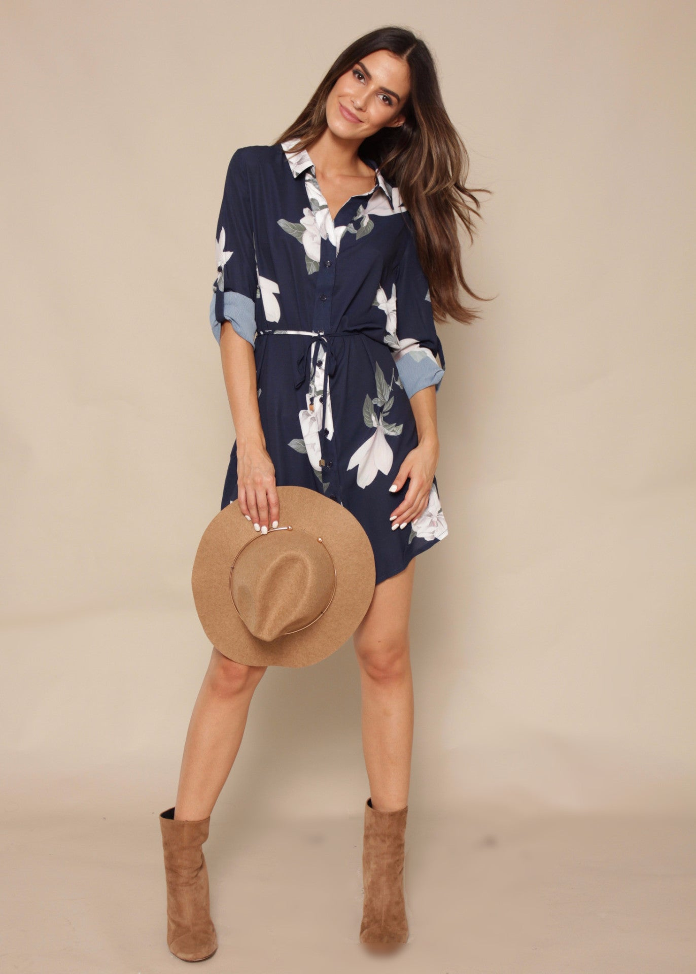 Play The Field Tunic Dress - Navy Springs
