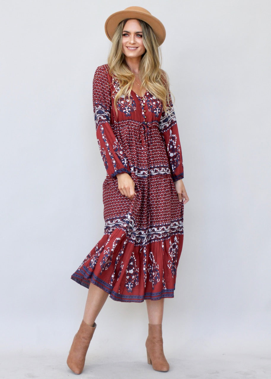 Call It Love Midi Dress - Burgundy Paisley