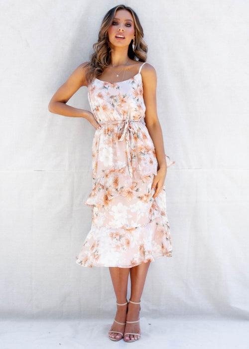 South Hampton Midi Dress - Peach Floral
