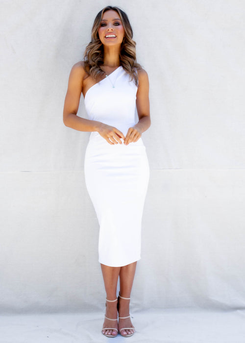 Cold Shoulder Midi Dress - White