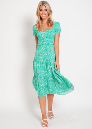 Seahaven Midi Dress - Green Floral