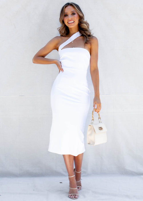 Tara One Shoulder Midi Dress - White