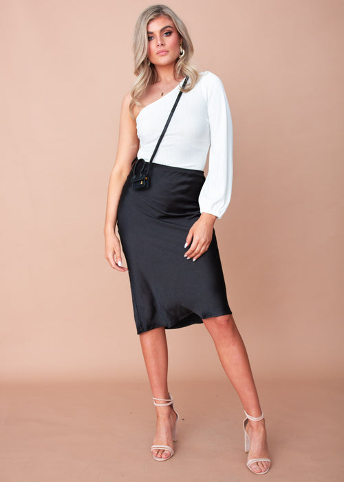 Keeping It Real Midi Skirt - Black