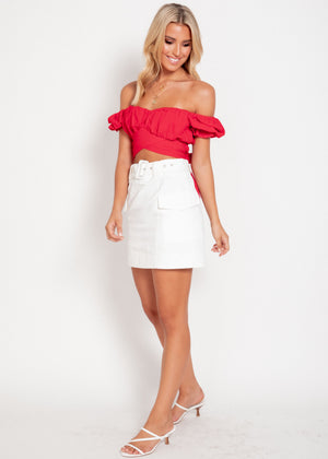 Wild Card Cropped Blouse - Red