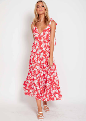 Life Changing Maxi Dress - Red Floral