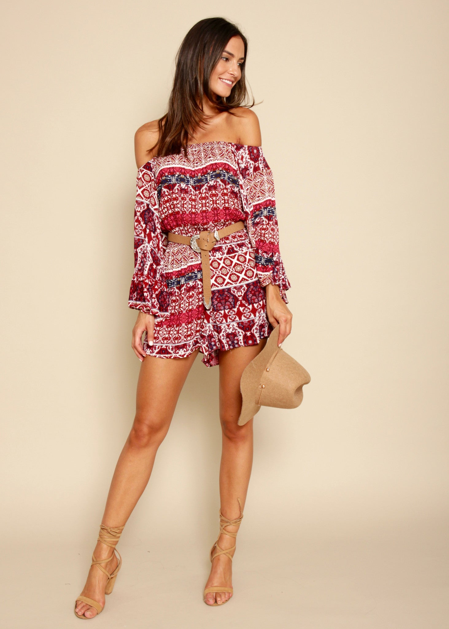 Arizona Skies Off Shoulder Playsuit - Red Desert