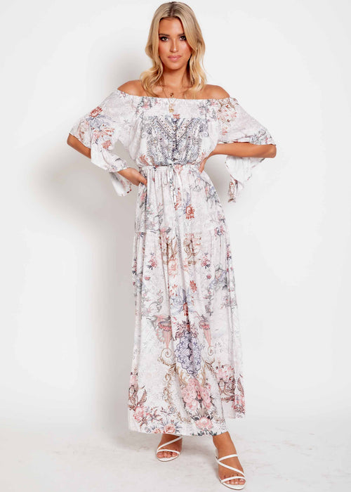 Ever Changing Off Shoulder Maxi Dress - Mykonos