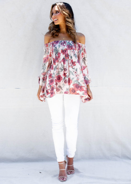 Sugar Night Off The Shoulder Top - Garden Party