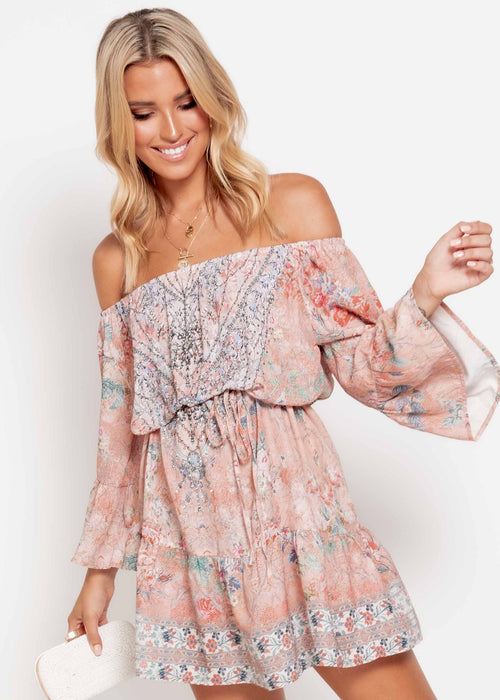 Regal Off Shoulder Dress - Pesca