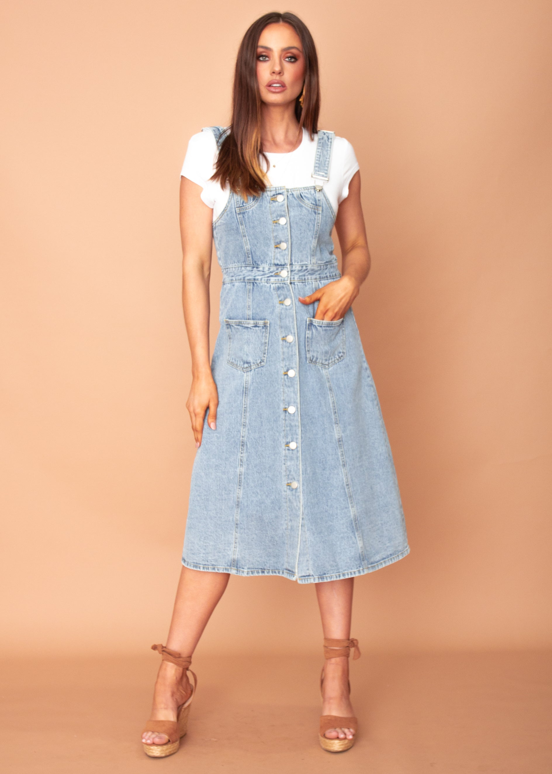 Women's Downtown Love Denim Pinafore Midi Dress - Mid Blue