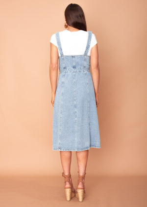 Downtown Love Denim Pinafore Midi Dress - Mid Blue