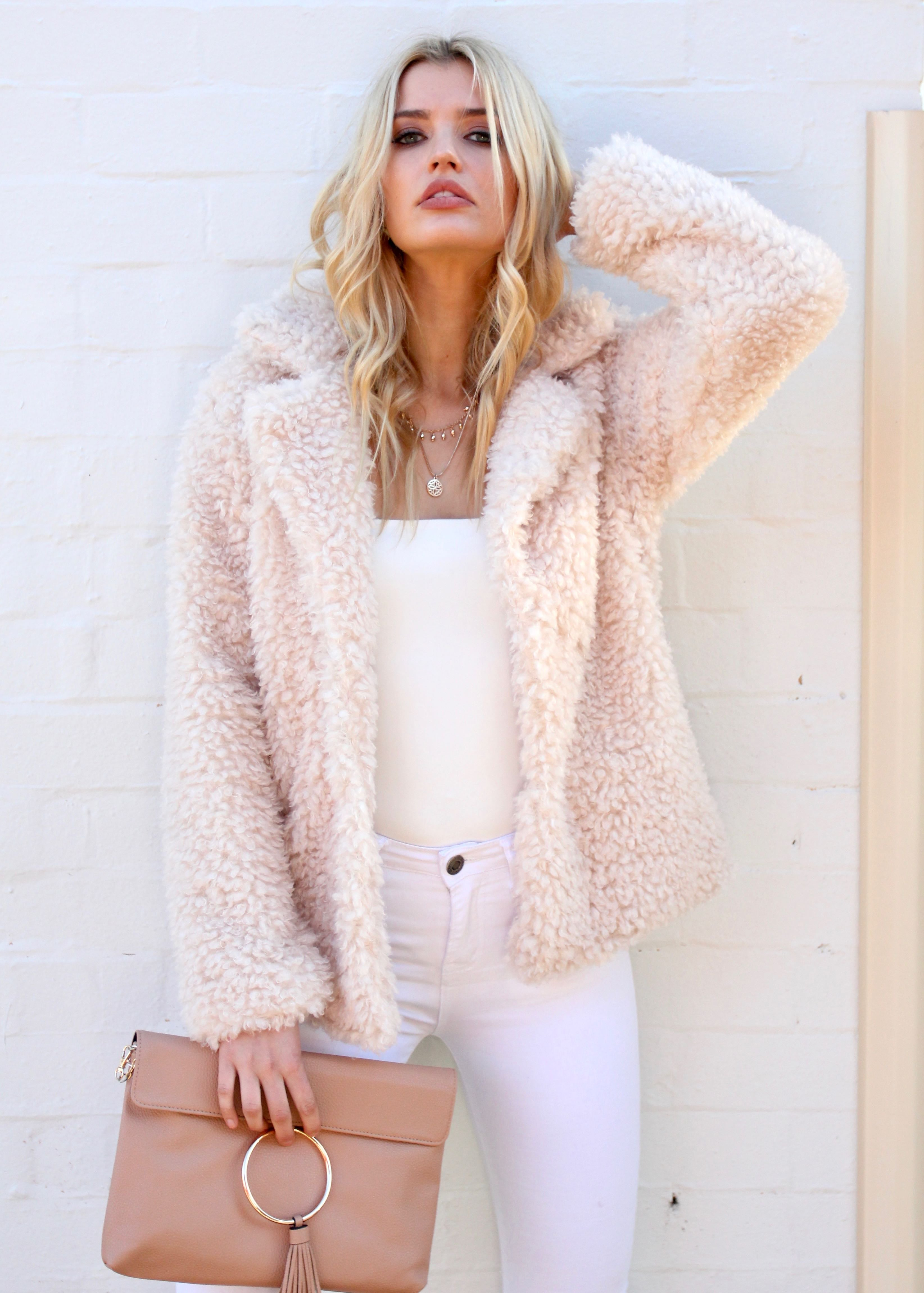 Breaking Hearts Fluffy Jacket - Beige