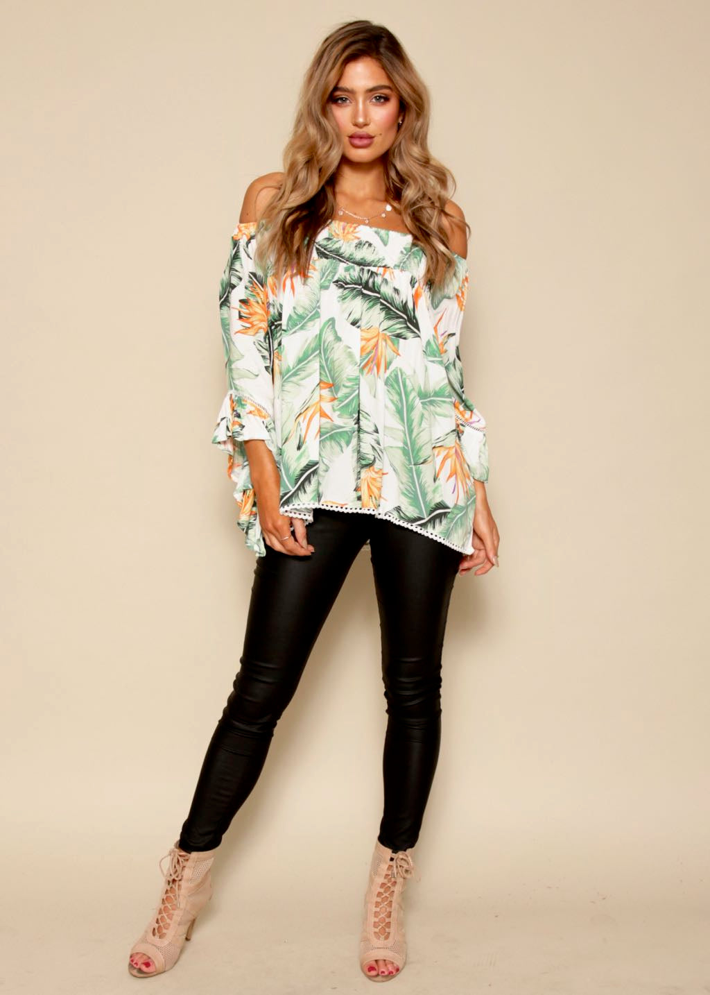 Sugar Night Off Shoulder Top - White Tropicana