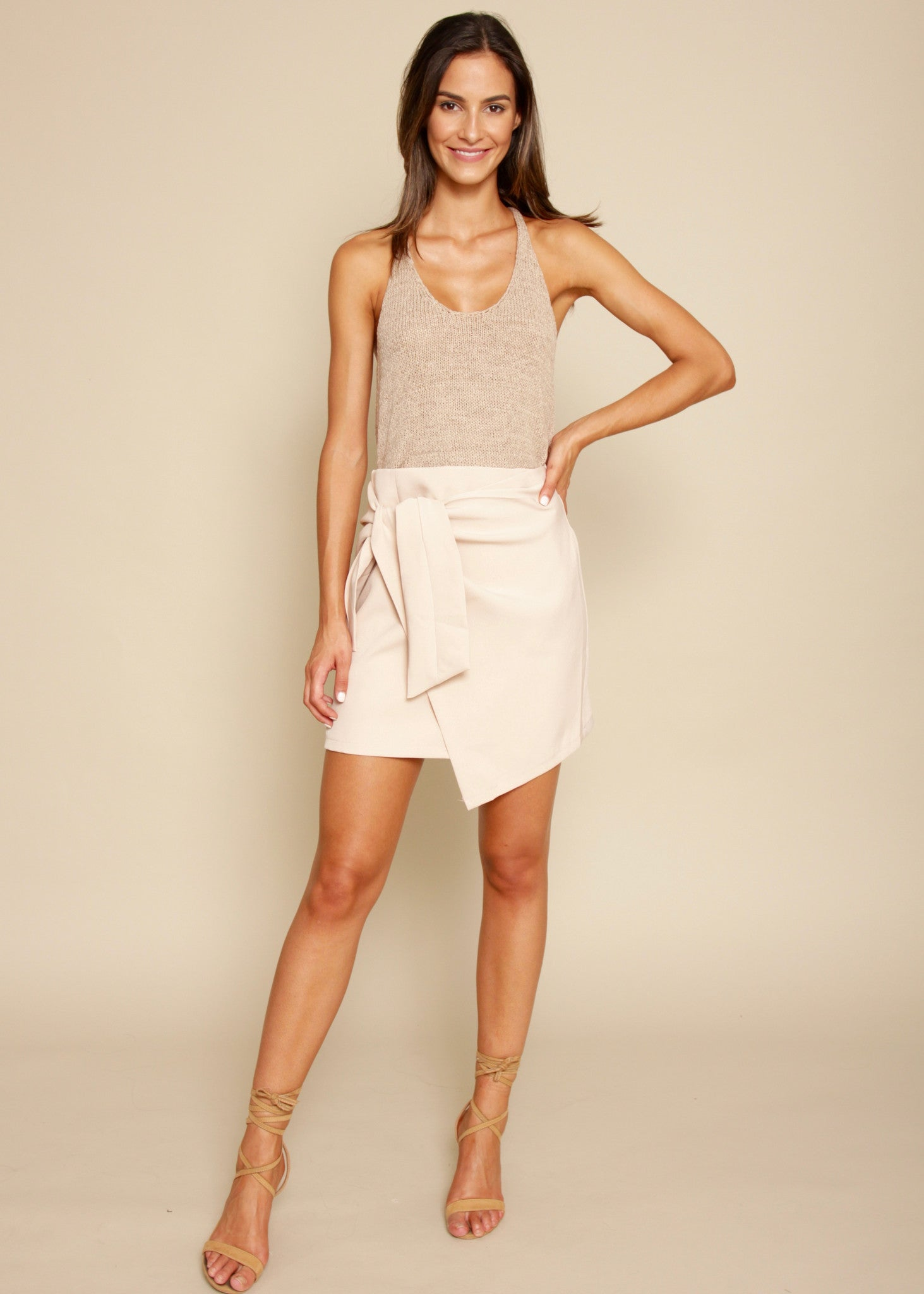 Night Fever Wrap Skirt - Blush