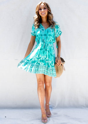 Breanna Mini Dress	 - Teal Garden