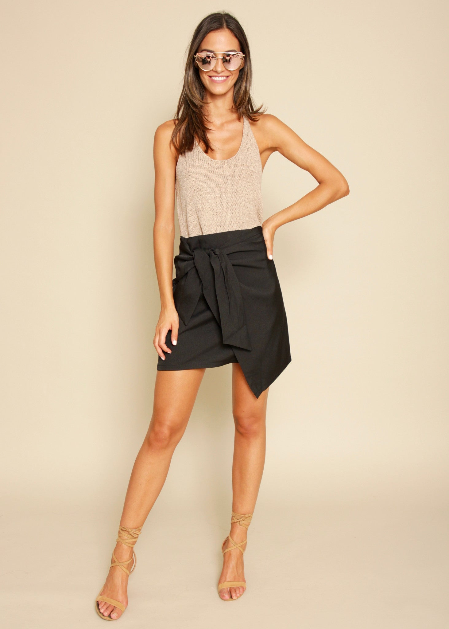 Night Fever Wrap Skirt - Black
