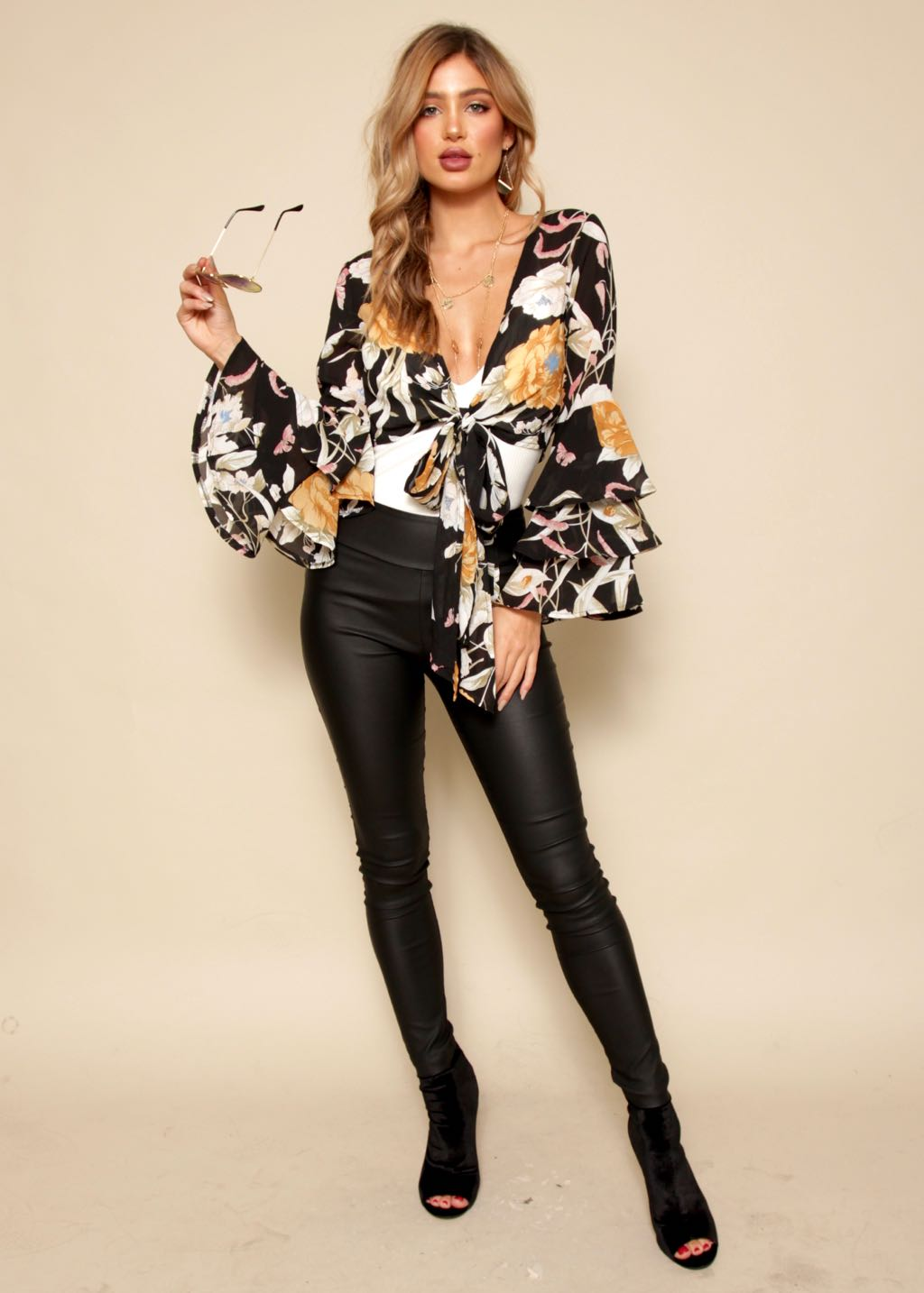 Crazy Dream Tie Blouse - Black Floral