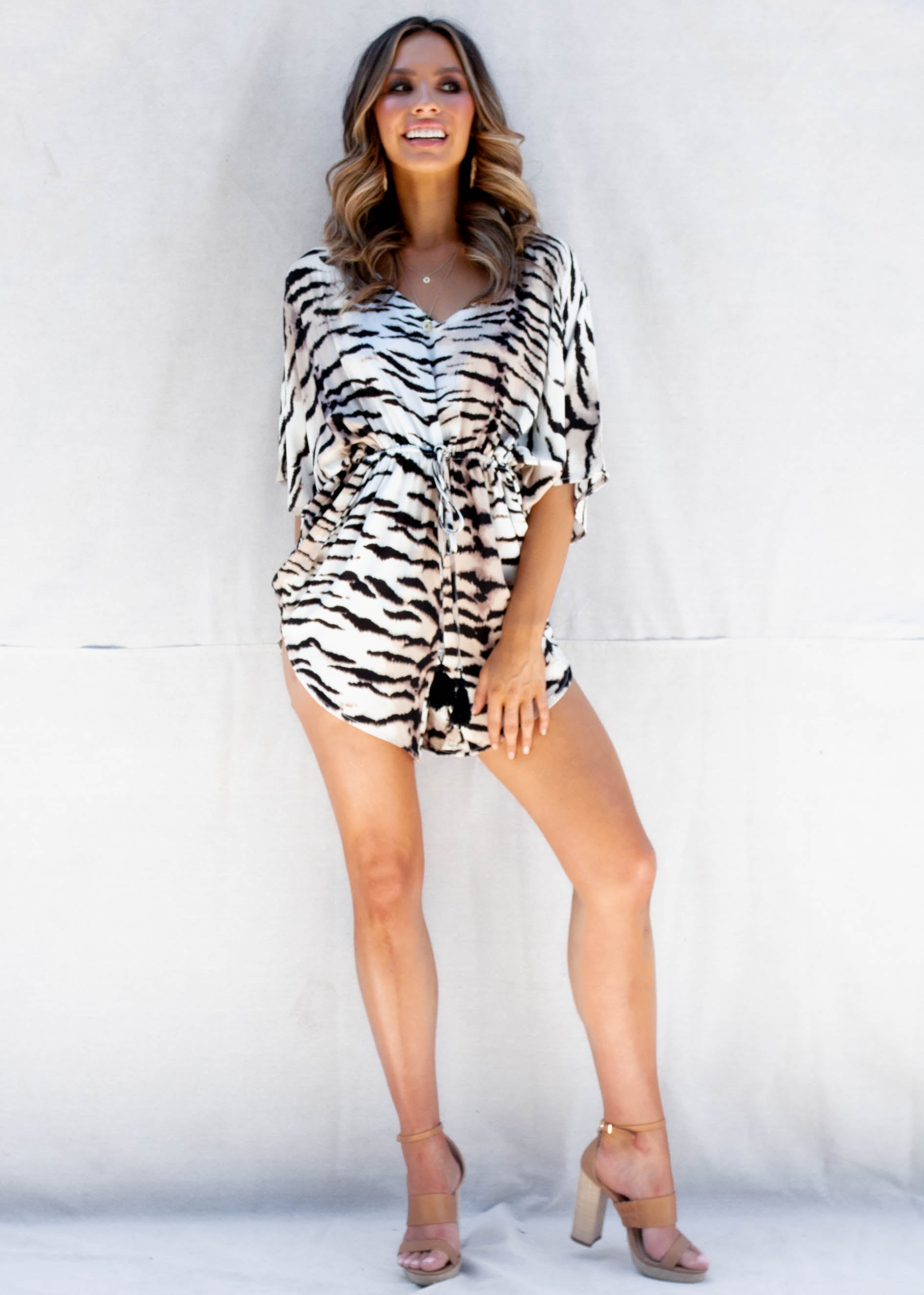 Wild Eyes Playsuit - White Tiger