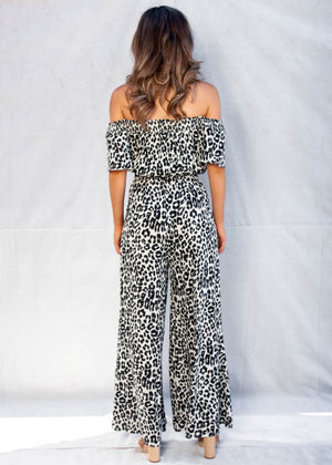 Jaida Off Shoulder Pantsuit - Leopard
