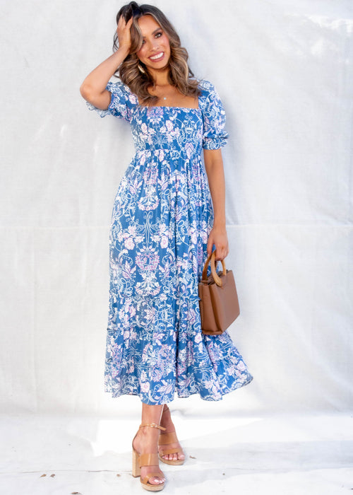 Billie Off Shoulder Midi Dress - Blue Floral