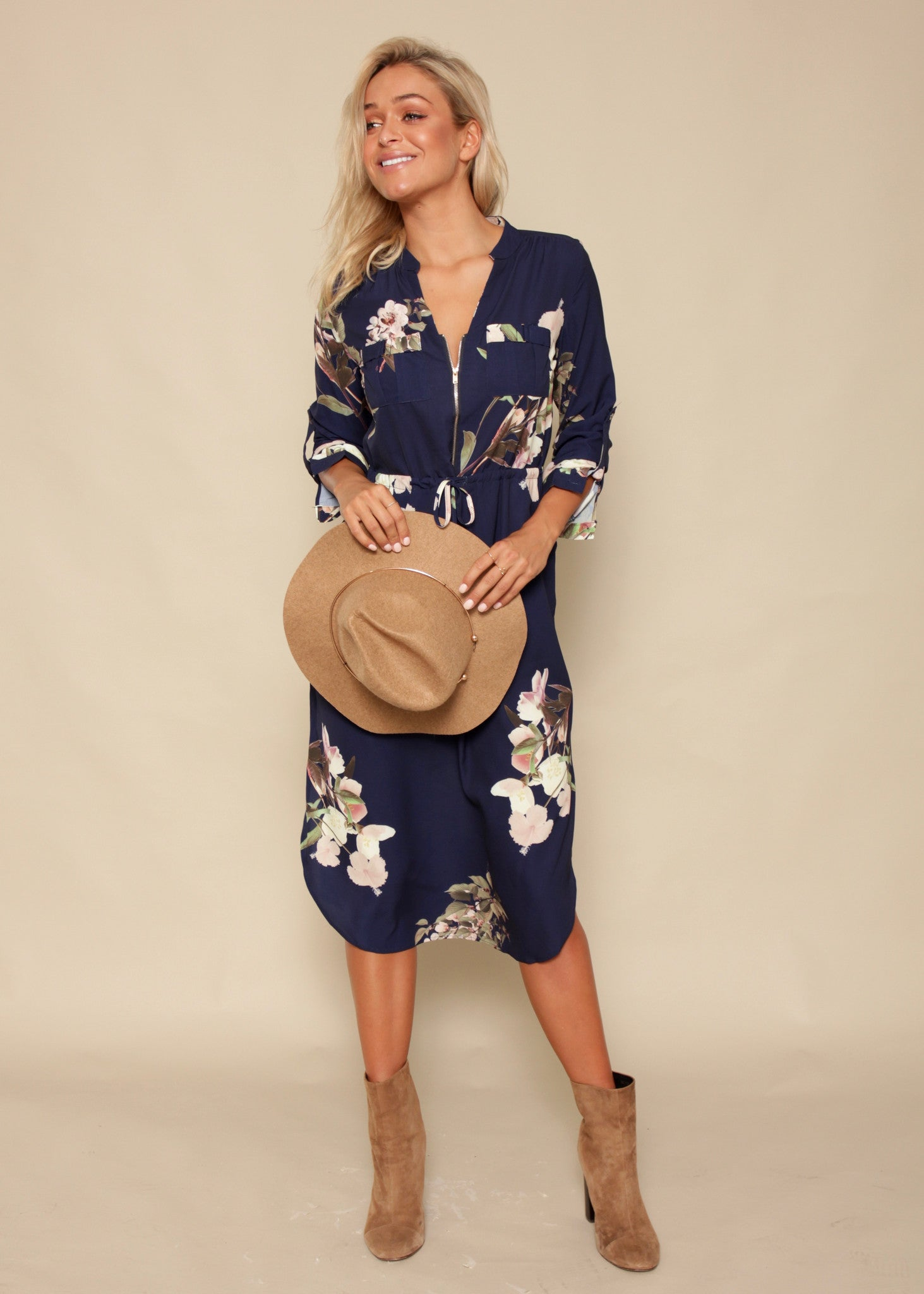 Low Lights Tunic Dress - Navy Floral
