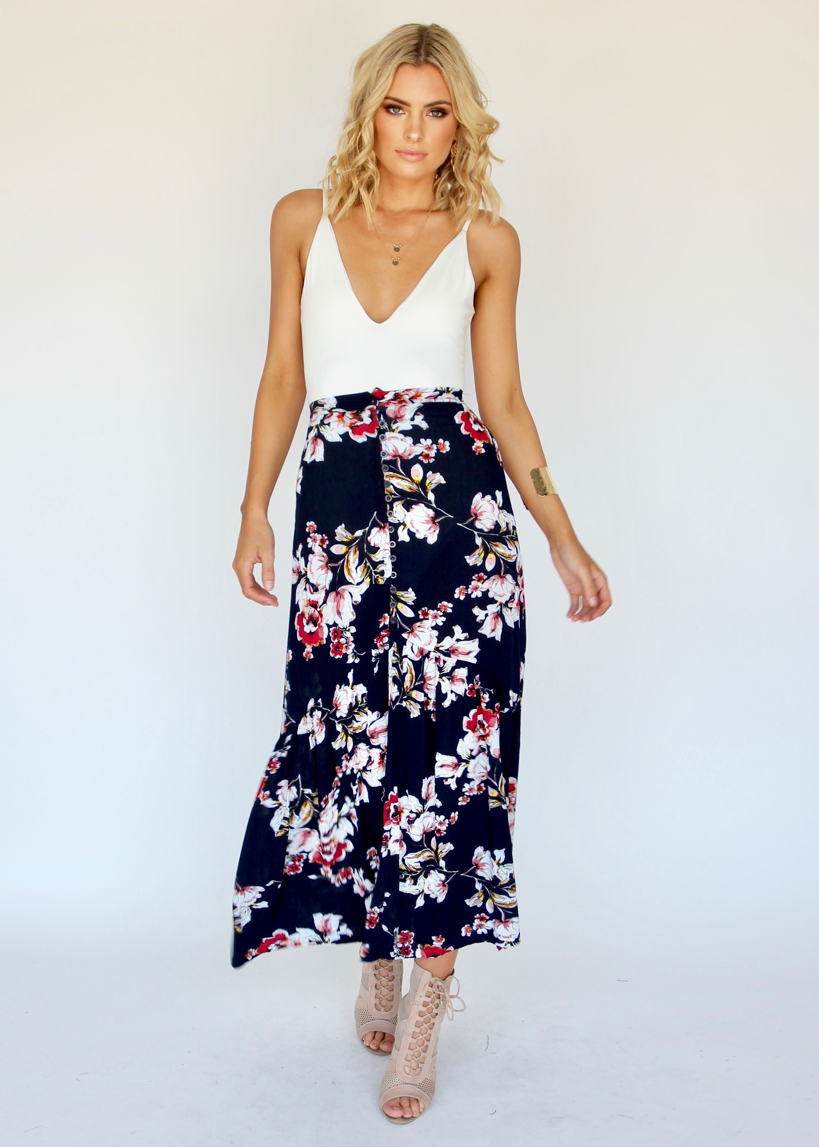 Simple Love Maxi Skirt - Navy Floral