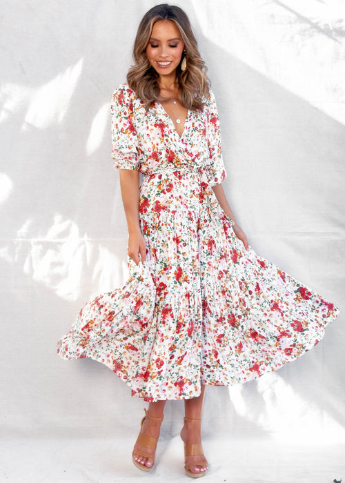 Lavidia Maxi Dress - White Floral