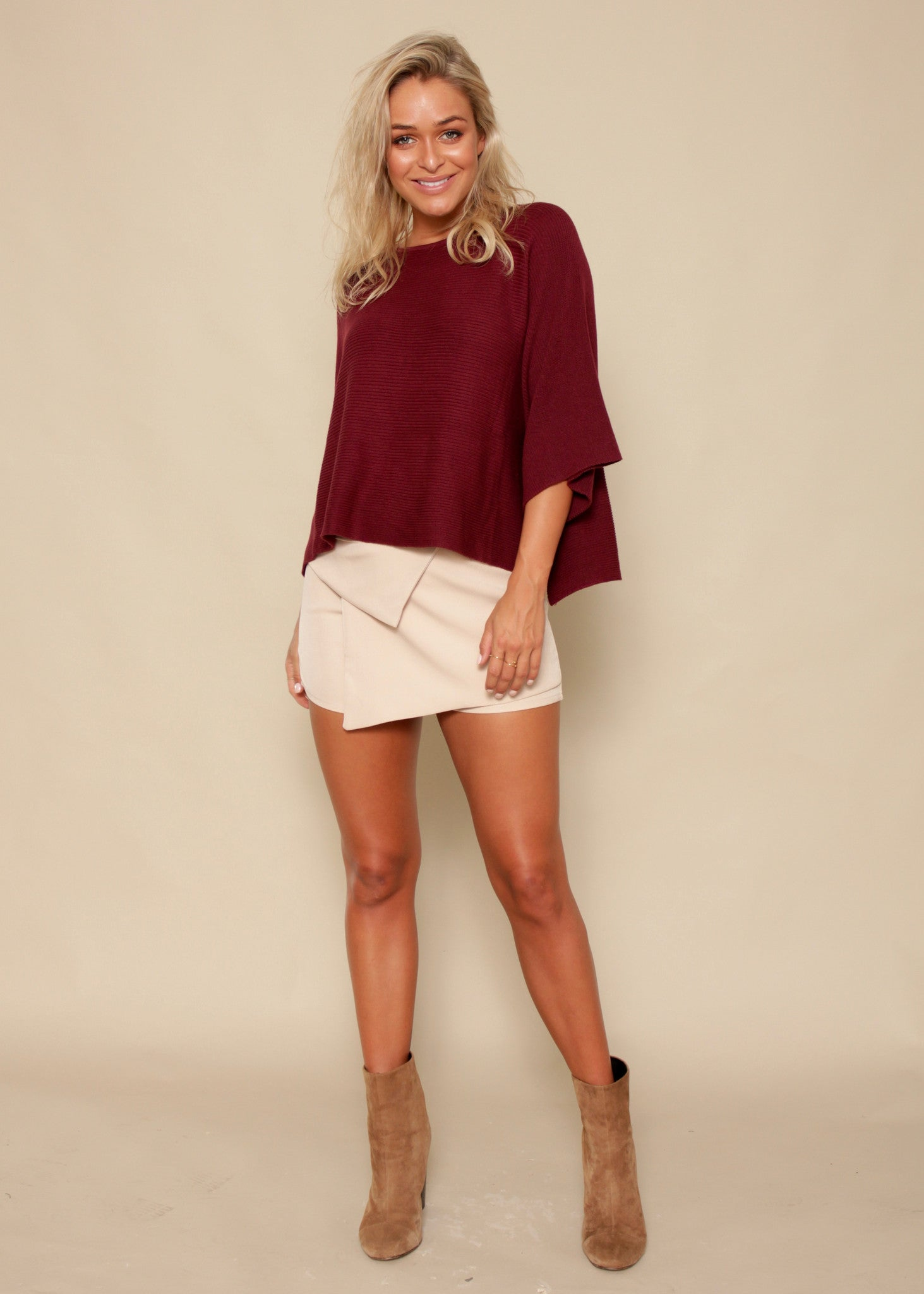 Born Free Crop Sweater - Dark Red