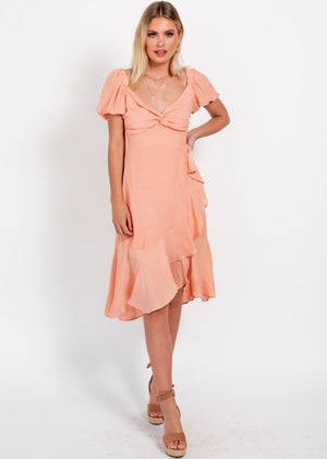 Where Are We Now Midi Dress - Peach
