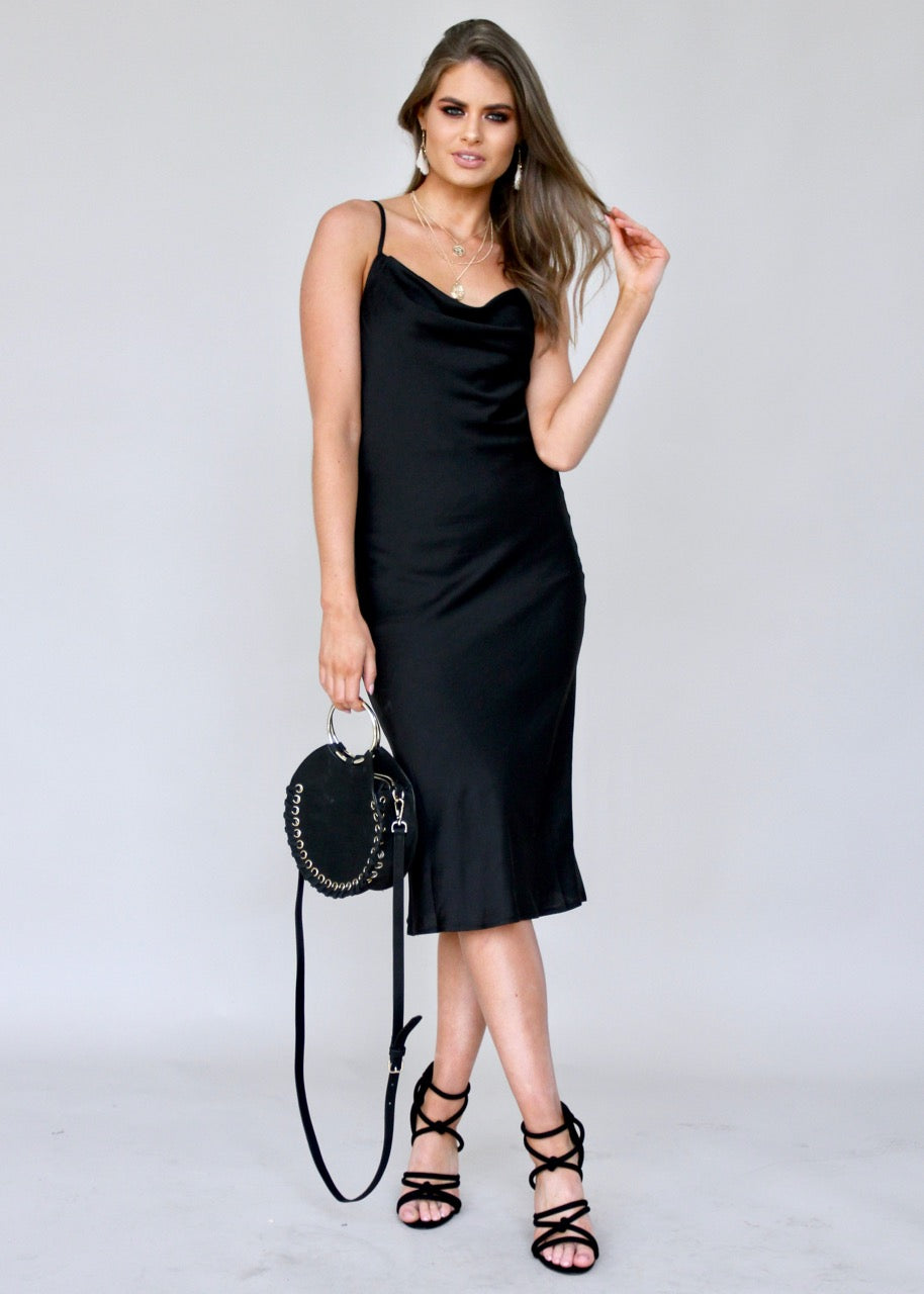 Bespoke Slip Midi Dress - Black