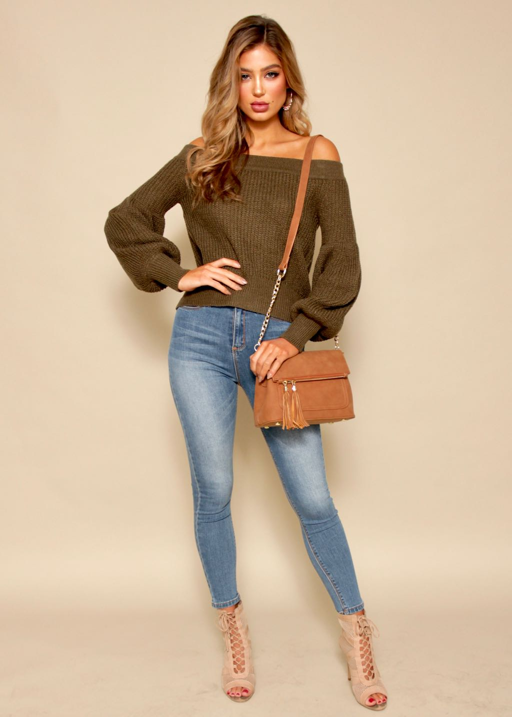 Night Walker Off Shoulder Sweater - Khaki