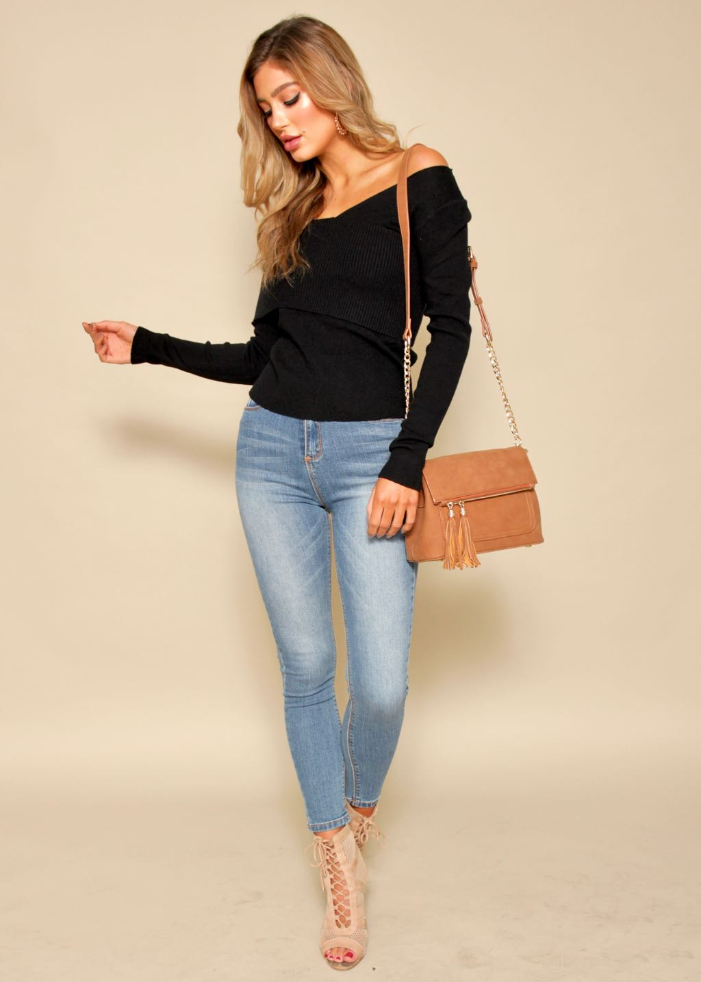Breakaway One Shoulder Sweater - Black