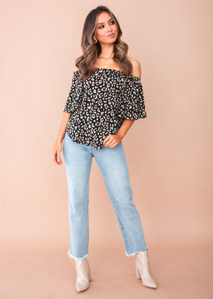 Dare To Try Off Shoulder Top - Black/Beige