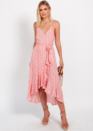 Can't Go Back Midi Dress - Coral Floral