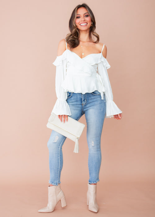 Raised in Paris Wrap Top - White