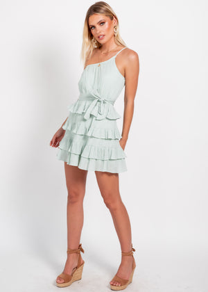 Kobie One Shoulder Dress - Mint
