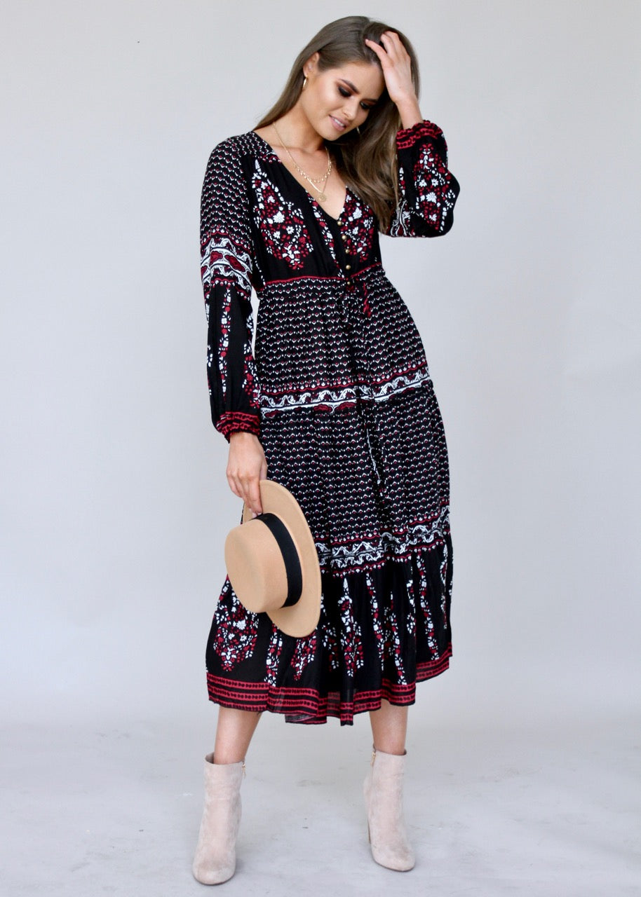Call It Love Midi Dress - Black Paisley