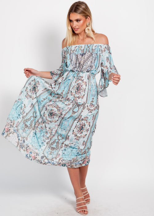 Ever Changing Off Shoulder Maxi Dress - Turquoise Gem