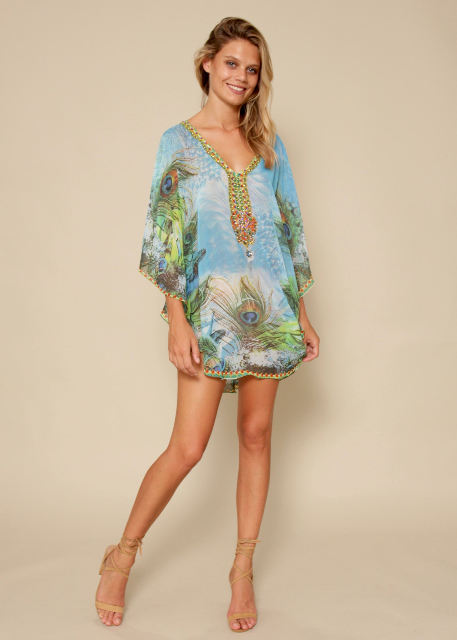 All A Dream Chiffon Kaftan - Aqua