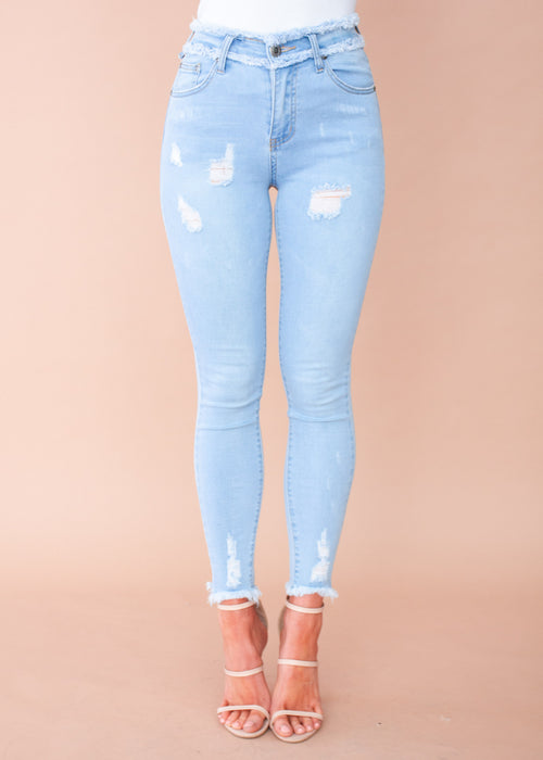 Carter Frayed Jeans - Light Blue
