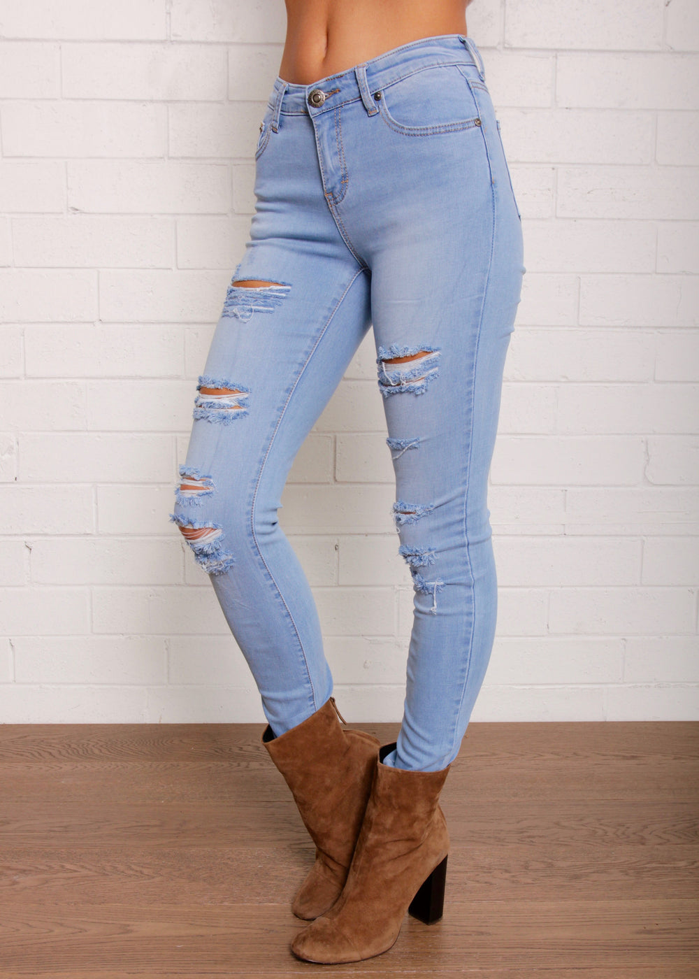 Young Guns Ripped High Jeans- Light Blue