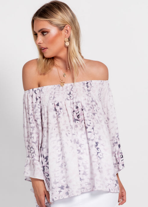 Shreya Off The Shoulder Blouse - Blush Leopard