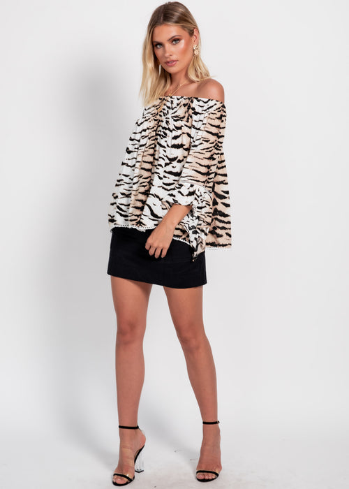 Sugar Night Off Shoulder Top - White Tiger