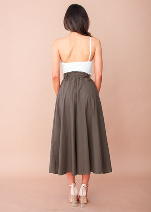 Savannah Midi Skirt - Dark Khaki